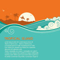 Tropical island  and seascape.Vector illustration Royalty Free Stock Photo