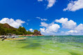 Tropical island at seychelles nature background Stock Photo