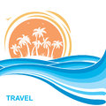 Tropical island and sun.Sea waves background illustration