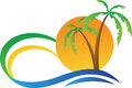 Tropical island a vector drawing represents design Royalty Free Stock Photo