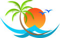 Tropical island a vector drawing represents design Stock Photos