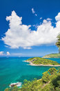 Tropical island view of ocean and the blue sky with observation platform Royalty Free Stock Images