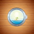 Tropical Island view from Porthole. Vector Image Stock Image