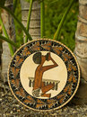 Tropical Islands handicraft shield from Polynesia. Stock Image