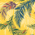 Tropical jungle floral seamless pattern background with palm le Royalty Free Stock Photo