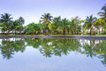 Tropical jungle of koh kho khao reflected in the pond thailand Stock Photos