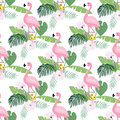 Tropical jungle seamless pattern with flamingo bird, palm leaves and magnolia or lotus flowers. Flat design, vector Royalty Free Stock Photo