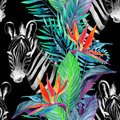 Tropical jungle seamless pattern. Floral design with zebra on white background.