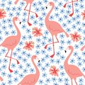 Tropical jungle seamless pattern with hand drawn flamingo bird and hibiscus flowers. Summer fabric, floral flat design