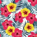 Tropical jungle seamless pattern with palm leaves and hibiscus flowers. Summer fabric floral design, vector illustration Royalty Free Stock Photo