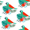 Tropical jungle seamless pattern with parrot bird, palm leaves and hibiscus flowers. Flat design, vector illustration Royalty Free Stock Photo