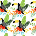 Tropical jungle seamless pattern with toucan bird, heliconia and hibiscus flowers and palm leaves, flat design. Vector