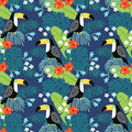 Tropical jungle seamless pattern with toucan bird, hibiscus flowers and palm leaves. Flat design, vector illustration