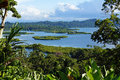 Tropical landscape with islets in the archipelago of bocas del toro caribbean sea panama Stock Image