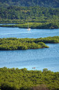 Tropical landscape with mangrove islets in the archipelago of bocas del toro caribbean sea panama Stock Photo