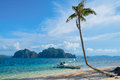 Tropical landscape with mountain islands palm tree and lonely boat Royalty Free Stock Image