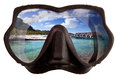 The tropical landscape is reflected in mask glasses for a snorkeling (diving) Royalty Free Stock Photo