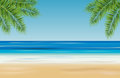 Tropical landscape with sea, sandy beach and palm trees - vector Royalty Free Stock Photo