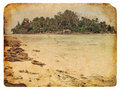 Tropical landscape, Seychelles. Old postcard Stock Image