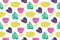 Tropical leaf and flowers seamless pattern at white background. Green, mint and purple colors. Royalty Free Stock Photo