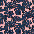 Tropical Leaf summer pattern. Trendy floral beach design in dusty rose and navy colors of 2017. Paradise plant texture