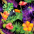 Tropical leaves, exotic flowers, toucan bird, gecko. Seamless wallpaper. Watercolor Royalty Free Stock Photo
