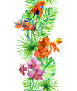 Tropical leaves, exotic parrot bird, orchid flowers. Repeating border. Water color frame Royalty Free Stock Photo