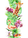 Tropical leaves, flamingo bird, giraffe, orchid flowers. Seamless border. Watercolor Royalty Free Stock Photo