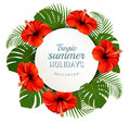 Tropical leaves and flowers with a summer holidays banner.