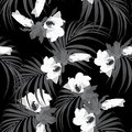 Tropical leaves and hibiscus flowers seamless pattern in black and white style. Royalty Free Stock Photo