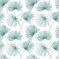 Tropical leaves, jungle pattern. Seamless, detailed, botanical pattern. Vector background. Palm leaves. Royalty Free Stock Photo