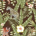 Tropical leaves pattern tiger panther brown background