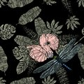 Tropical leaves, poppies and dragonfly seamless pattern. Royalty Free Stock Photo