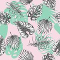 Tropical leaves. seamless pattern Botanical background with tropic plants. Exotic palm leaf textile print Summer
