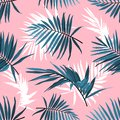 Tropical leaves seamless pattern, Green palm fronds on a pink background. Summer tropical backdrop, Vector repeat