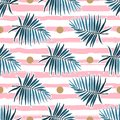 Tropical leaves seamless pattern, Green palm fronds on a pink striped background. Vector illustration