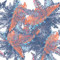 Tropical leaves seamless pattern. Vector illustration on white background. Blue and orange leaves. Royalty Free Stock Photo