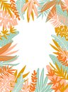 Tropical leaves. Vector frame in scandinavian style. Hand drawn background. Poster in orange and blue colors.