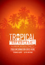 Tropical Lifestyle Summer Beach Party. Creative Vector Poster Concept. Palm Tree On Distressed Background illustration Royalty Free Stock Photo