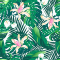 Tropical lush flowers seamless pattern on a white background
