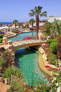 Tropical luxury resort hotel sharm el sheikh egypt may with swimming pool on red sea beach in Royalty Free Stock Photography