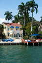 Tropical mansion waterfront property at one of many canals in north miami Stock Photo