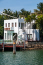 Tropical mansion waterfront property at one of many canals in north miami Royalty Free Stock Photos
