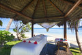 Tropical massage hut on fiji beach Stock Photo
