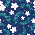 Tropical navy and pink flowers seamless pattern.
