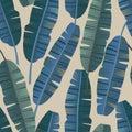 Tropical palm banana leaves seamless pattern