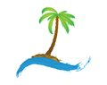 Tropical palm on island with sea. Stock Photos