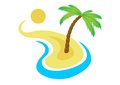 Tropical palm on island with sea vector logo Royalty Free Stock Photo