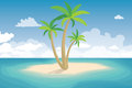 Tropical palm on island summer landscape vector illustration Stock Photo