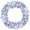 Tropical palm leaves, foliage wreath, round frame, multicolor neon berries Royalty Free Stock Photo
